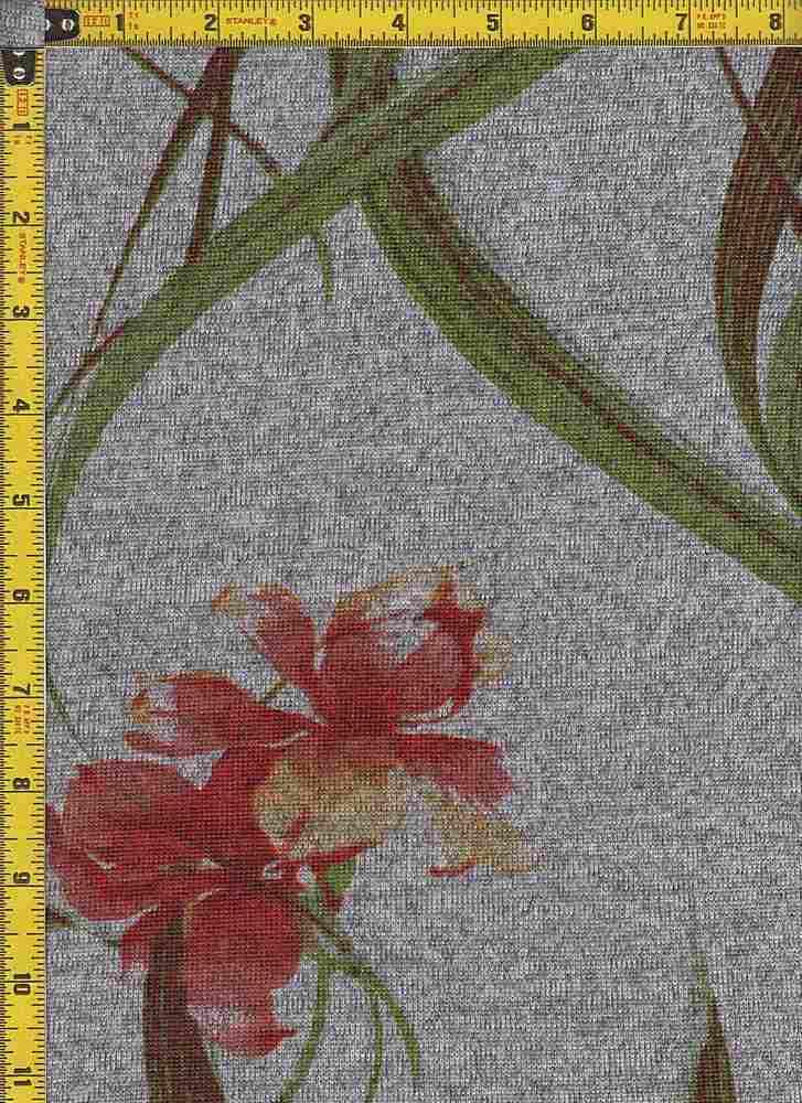 BP29003-14484 / DK H.GRAY / RED / 2-TONED HACCI BRUSH PRINT-14484