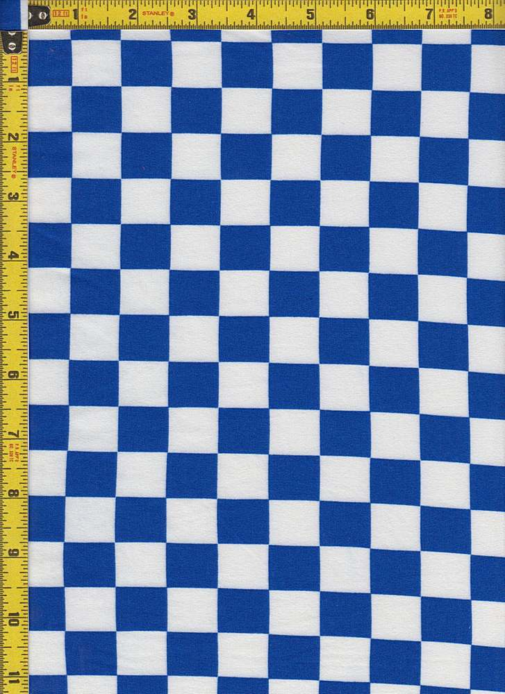 BP24118-80426A / ROYAL BLUE/WHITE / MICRO DTY BRUSH CHECKERED PRINT - 80426A