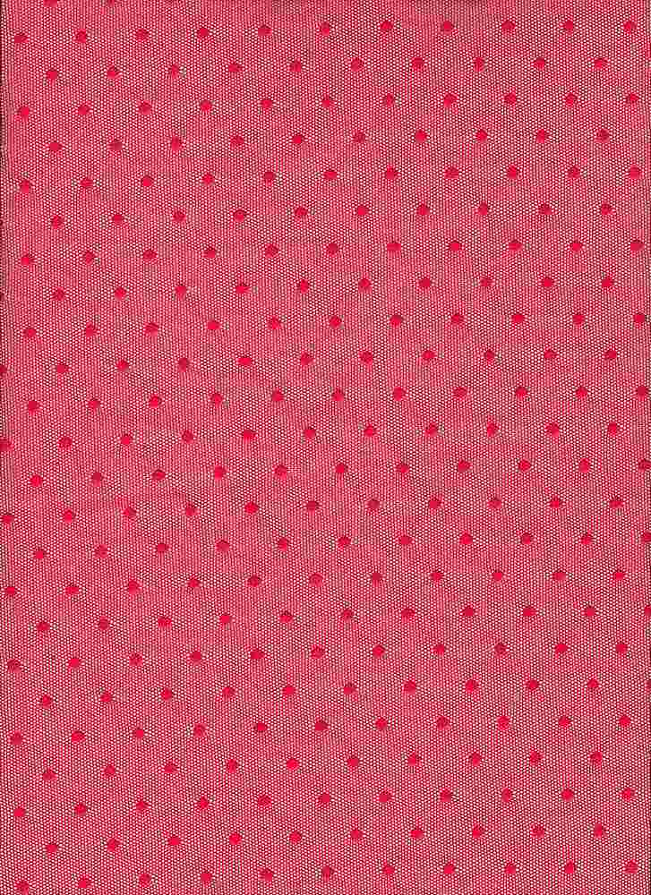 BP70082 / LT RED / NYLON MESH POLKA DOT